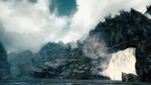 Skyrim: Riverside waterfall wallpaper by Mallony