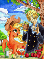 Nakama is Magic:  Sanji and Applejack by Irie-mangastudios