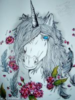 [Indian Ink art] Unicorn and Japanese cherry trees by BlackDragon07