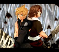 KH2- Cloud and Leon by meru-chan