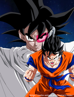 Turles and Goku - Coloured by Ezio-anime