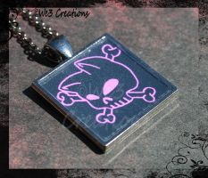 Pink Kitty Skull and Crossbones Pendant by kelleejm1