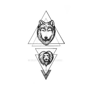 Monkey and wolf tattoo design by Miletune