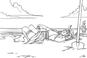 FREE Lineart: Pirate on the Beach by HAZENHYTE