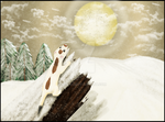 Weasel looking to the Moon by Fennic