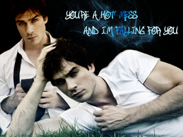 Damon Salvatore-Wallpaper by Alexya16