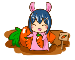 Bunny in Carrot Patch by kyupi