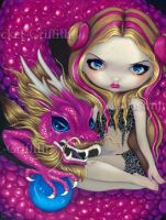Shimmering Pink Dragon by jasminetoad