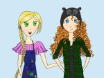 Merida and Rapunzel (modern day AU) by NightlockFox