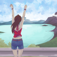 waking up in New Zealand by Akashicchan