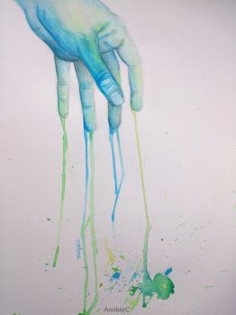 watercolor hand by AnnberC