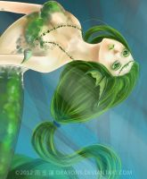 Green Mermaid by DRA9ONS