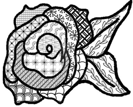 Roses Are Red Arent They 0001 - 8x10 Zentangle Ins by Zaubrer