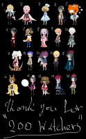 .:Thank you for 200 WatchersFree adopts-(CLOSED):. by Amabyllis