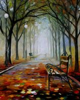 The way to the fog by Leonid Afremov by Leonidafremov