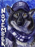 November Wolf Badge by Foxfeather248