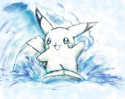 Puka the surfing pikachu by shiroiwolf
