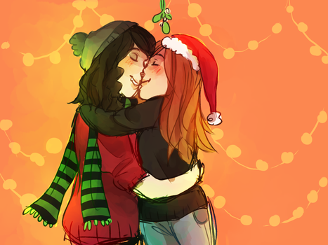 kiss me babe its christmas time by firstpancake