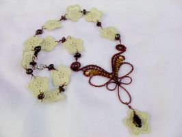 Lace flower necklace by Mirtus63