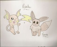 Raichu and Eevee by westiegirl1124