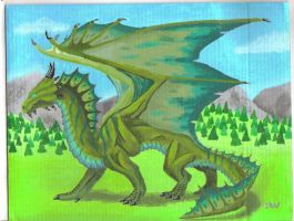 Bronze Dragon painting by Leithster