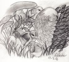 Chicks in the grass Sketch by mashashy