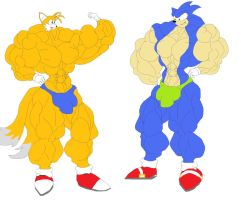buff sonic and tails by inflamusgrow