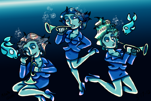 Bugler Sisters Underwater by TromboneGothGirl84