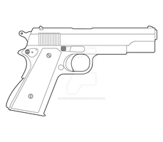 Colt M1911 Lineart by MasterChiefFox
