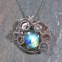 Labradorite and Dark Silver Steampunk Pendant by HeatherJordanJewelry
