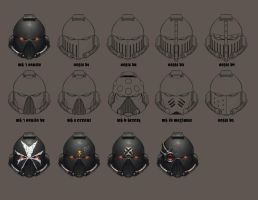 Black Templar Helmet Sketches by NicholasKay