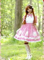 Lolita Dolly Sweet Lace Ruffled Pink White Strip by wigisfashion