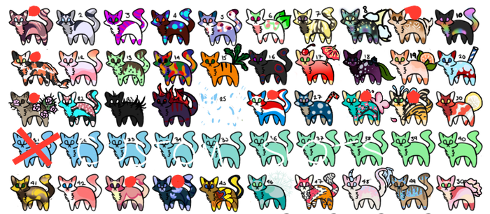 50 Cheap Cat Adoptables!!! (29/50 OPEN) by JinxgleAdopts