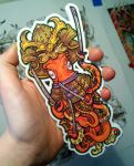 Samurai Squid sticker by dmillustration