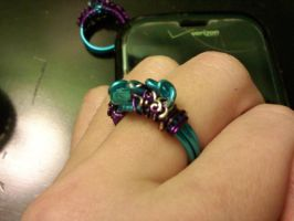 Blue and Purple coiled wire Ring by EllasDesigns