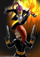 Commission: C.Viper vs Black Widow by SupaCrikeyDave