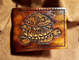 Hindu world turtle, leather wallet by Bubblypies