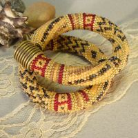 beaded crochet rope yellow etnic necklace by Rovenaru