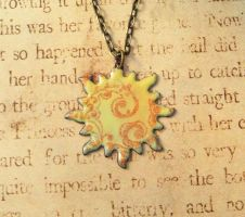 Solar Swirl Sun Hand Torched Enamel Necklace by FusedElegance