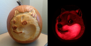 Doge pumpkin by feathergills