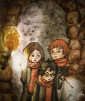First years wandering in Hogwarts by Glass-no-E