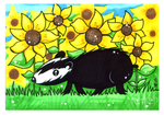 Badger and Sunflowers by tea-bug