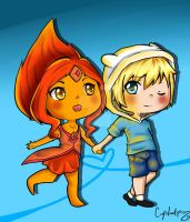 Finn and Flame Princess by PenguinEsk