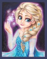Elsa Frozen Fanart copic markers by Sakuems