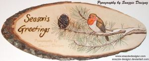Seasons Greetings Pyrograph (Woodburning) by snazzie-designz