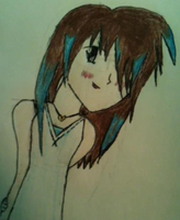 Anime girl with brown and blue hair. by Lenaleekitkat