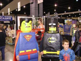 Lego superman and batman cosplay by Robot001