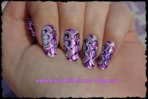 Nail Art Purple Flowers by Angelik23
