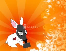 Bunny with Gas Mask by Moiras