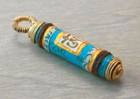 Turquoise Om Mantra Prayer Scroll Pendant by OneUrbanTribe